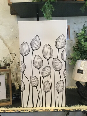 Print Black And White Canvas Flower