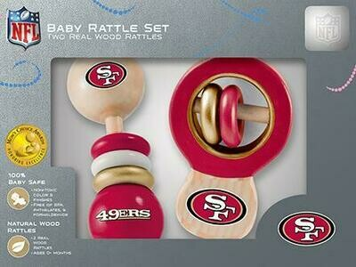 San Francisco 49ers Real Wood Baby Rattles