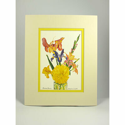 "Summer Flowers – Double Matted ""Hand-Signed Print"" by Stephanie Scott"