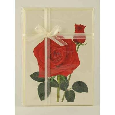 Red Rose and Bud – Floral Notecard 4 Card Gift Pack by Stephanie Scott