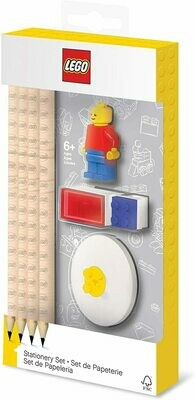 Lego Stationery Set with Minifigure, Graphite Pencils, Eraser, Pencil Sharpener, and Pencil Topper