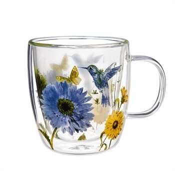 Double Wall Glass Café Cup w/ Lid Hummingbird