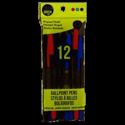 Onyx + Green 12pk Ballpoint Pens Asst Inks