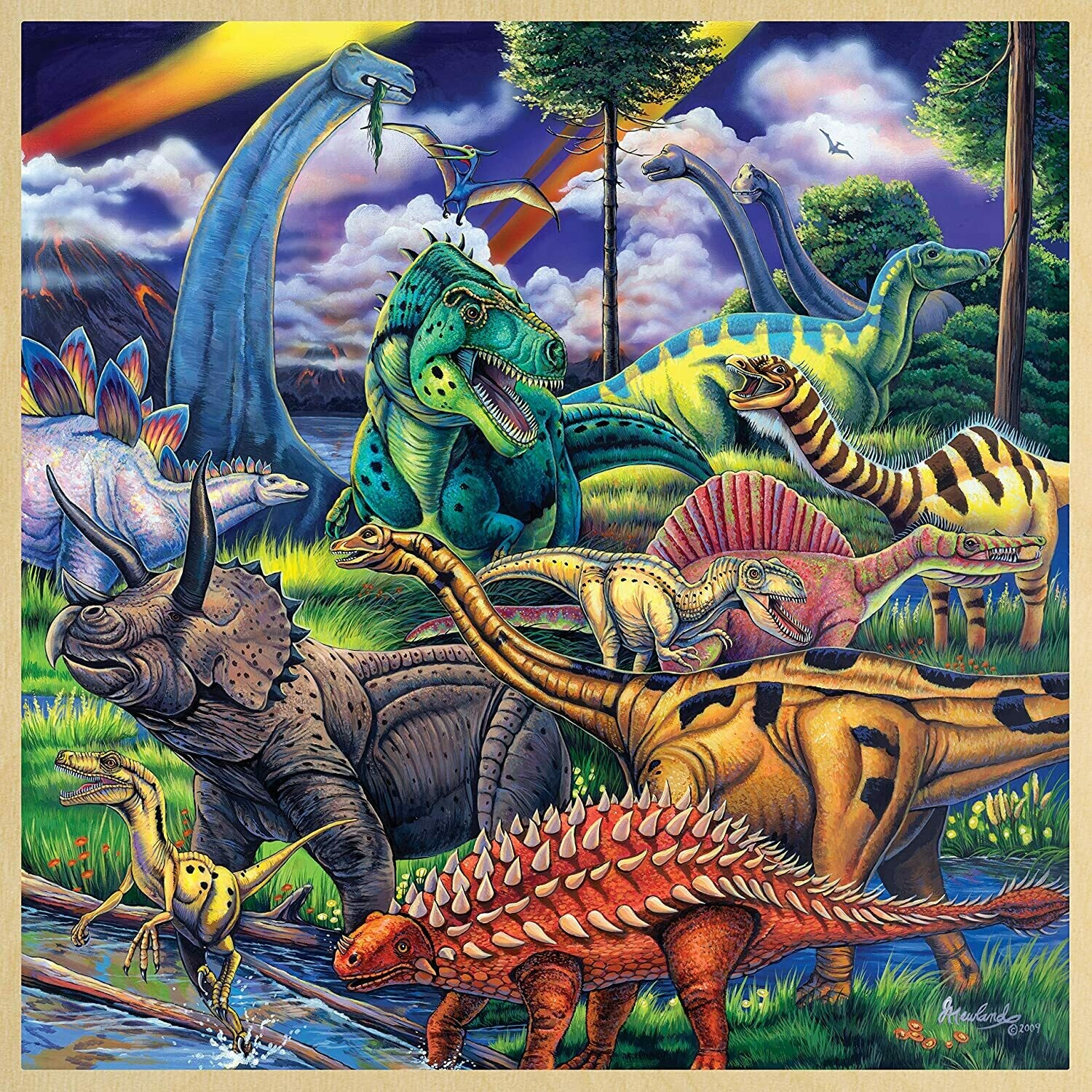 Dinosaur Friends with Fun Facts - 48pc Wooden Tray Educational Puzzle For Kids by Masterpieces