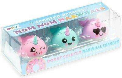 Nom Nom Narwhals Scented Erasers - Set of 3