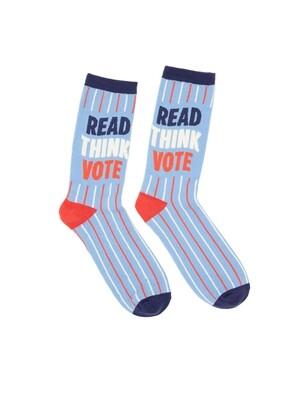 Read Think Vote Socks Large