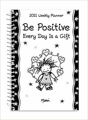 "2021 Weekly & Monthly Planner ""Be Positive- Every Day Is a Gift"" (8 x 6 in)"