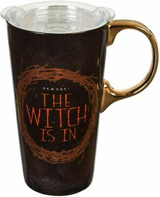 """""""The Witch Is In"""" Ceramic Travel Cup with Tritan Lid and Matching Box - 4 x 5 x 7 Inches"""