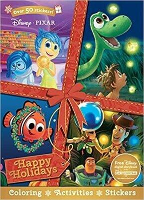 Disney Pixar Christmas Happy Holidays (Sticker Scenes & Coloring Book) Paperback