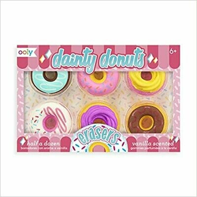 OOLY, Dainty Donuts Vanilla-Scented Erasers Set of 6