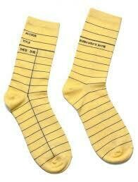 Library Card Socks Yellow-Small