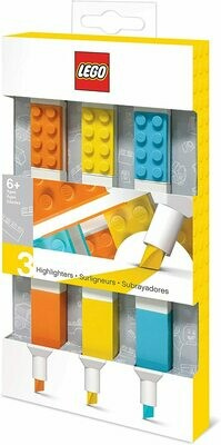 LEGO Stationery - 3 Pack Highlighter Markers with 4x2 Building Bricks - Yellow, Orange, Blue