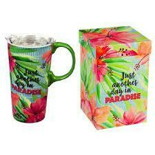 Just Another Day in Paradise Ceramic Travel Cup, 17 OZ. ,W/Box And Tritan Lid