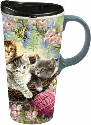 Kittens and Flowers Ceramic Travel Cup
