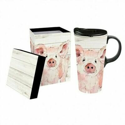 Ceramic Travel Mug with Gift Box, 17 ounces (Pretty Pink Pig)