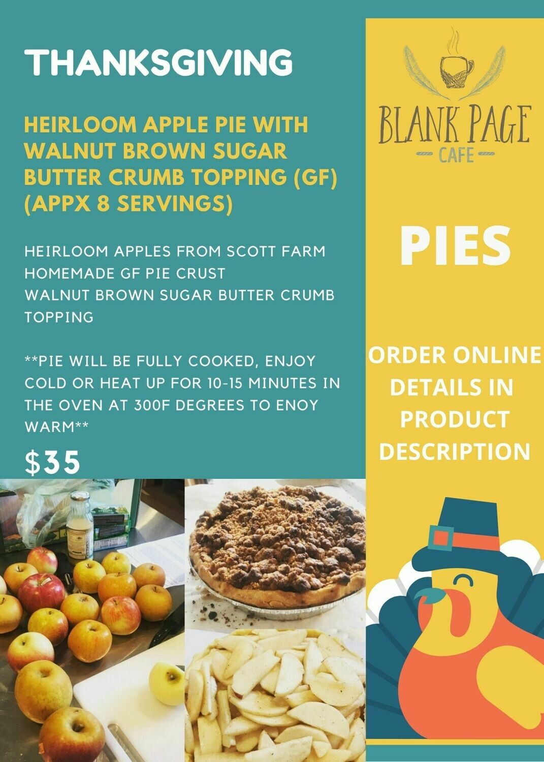THANKSGIVING PIES!! Heirloom Apple Pie w/ Walnut Brown Sugar Crumb Topping (GF)