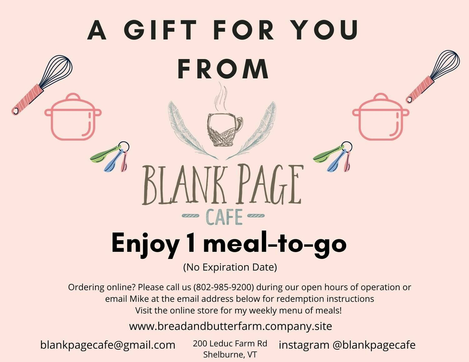 1 MEAL-TO-GO GIFT CERTIFICATE VOUCHER