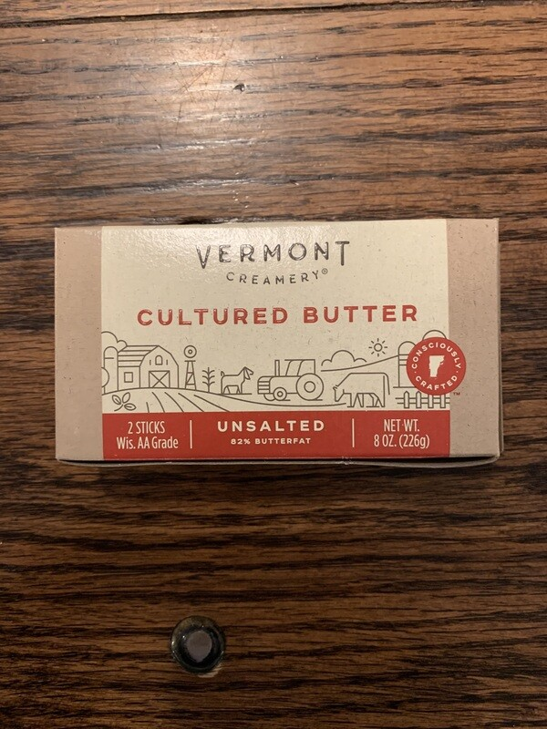 Butter - 1/2 lb Unsalted, Cultured (VT Creamery)