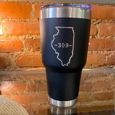 30oz Illinois 309 Black Tumbler