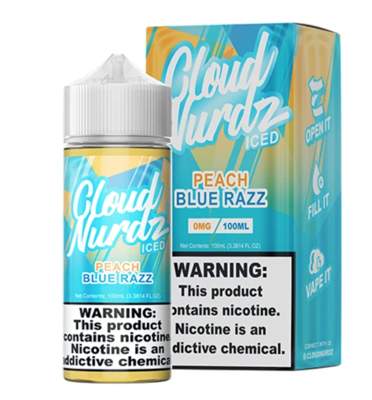 Cloud Nurdz - Peach Blue Raspberry Iced - 100ML - 0 MG