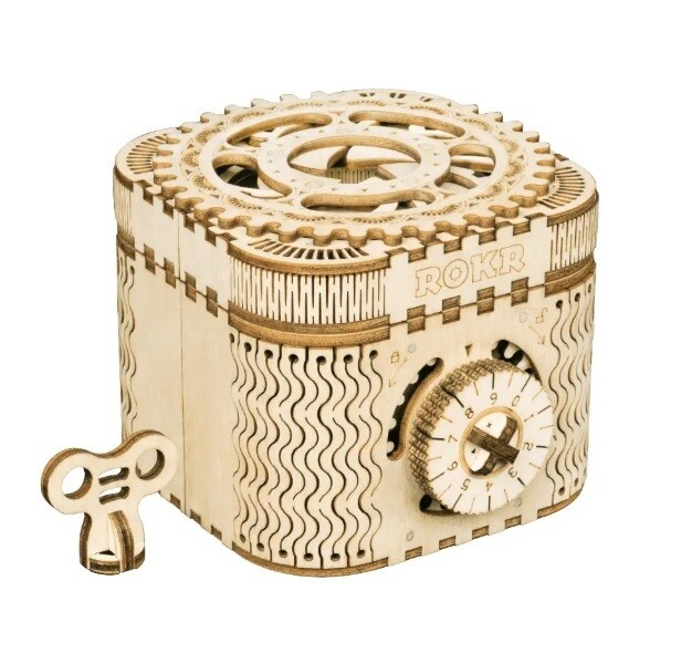 Wood Treasure Box with Lock