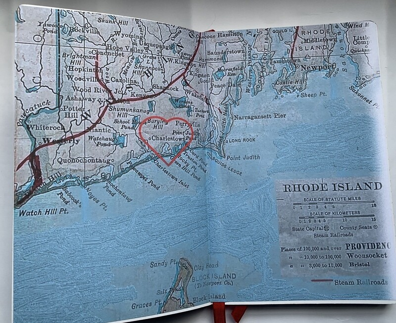 Charlestown Map Italian Re Purposed Leather Lined Journal