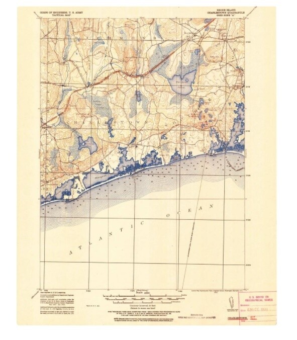 United States Geological Survey Map of Charlestown, RI