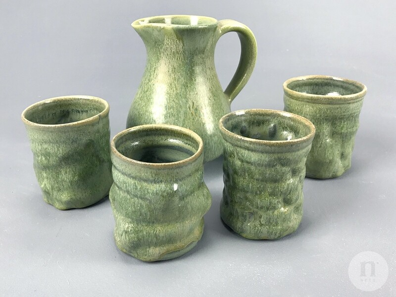 Green Crystal Cup and Pitcher Set