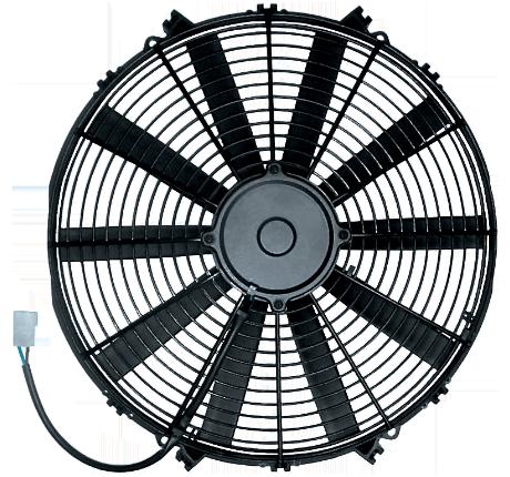 """16"""" 130 Watt Low Profile Ultra Slim Straight Blade Puller Fan Assembly"""
