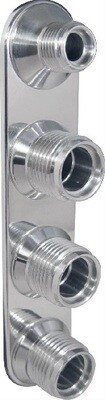 4- Way Inline Polished (6-10 Male O-Ring)