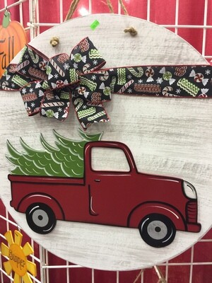 """23"""" Circle with Christmas Truck"""