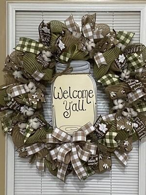 Burlap Jar Wreath