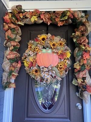 Pumpkin Flower Fall Wreath