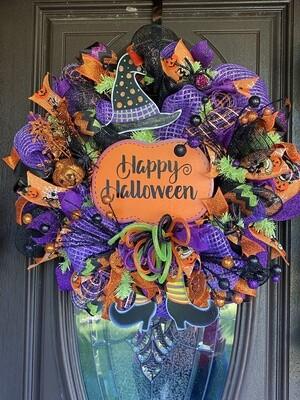 Happy Halloween Witch Wreath