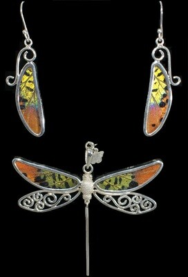 Dragonfly Necklace & Earrings/Butterfly Wing