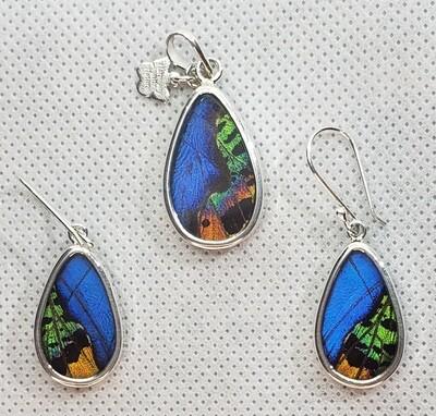 Butterfly Wing Necklace and Earrings, Teardrop Shape, Blue