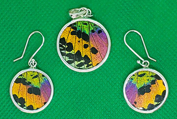 Butterfly Wing Necklace and Earrings, Round