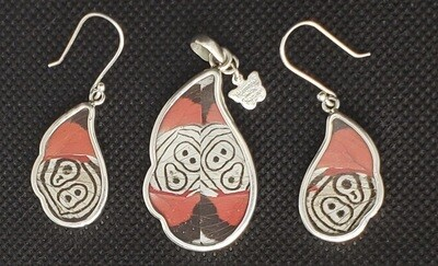 Butterfly Wing Necklace and Earrings, Black, White and Red
