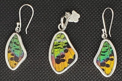 Butterfly Wing Necklace and Earrings, Small Teardrop Shape