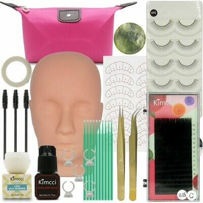 Kimcci False Eyelash Extension Training Kit Exercise Practice Mannequin Head Set Grafting Eyelash Tools Kit Eye Lashes Grafting