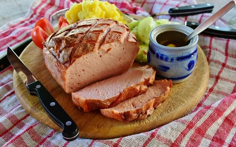 Leberkäse mit Emmentaler Käse 1kg frisch zum selber backen