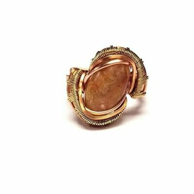 Carnelian Dragon Eye Ring in Brass and Copper Size 5.5
