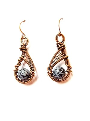 Snowflake Obsidian and Oxidized Copper earrings