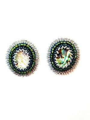 Bead Embroidered Abalone Studs