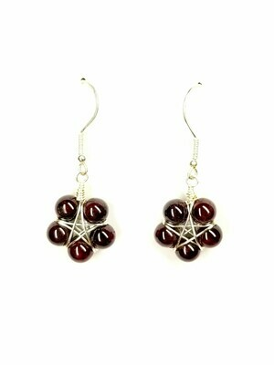 Garnet Star Flower Earrings