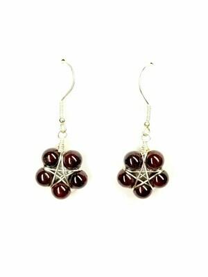 Garnet Star Flower Earrings