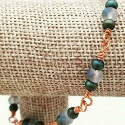 Copper Peacock Chain Bracelet