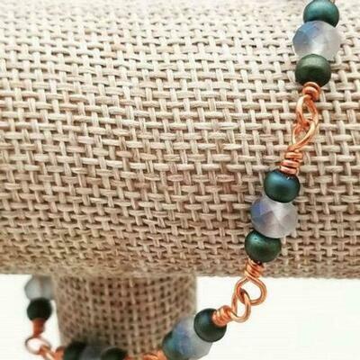 Copper Peacock Chain Bracelet