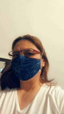 Tie-on mask with adjustable fitted nose and pocket for filter - Blue