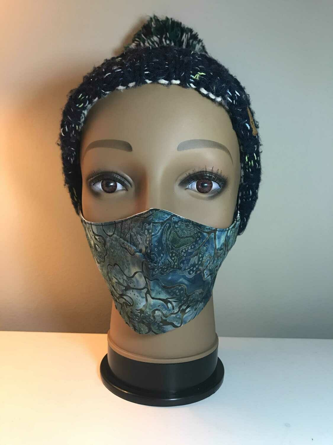 Classic mask dark green with flowers.